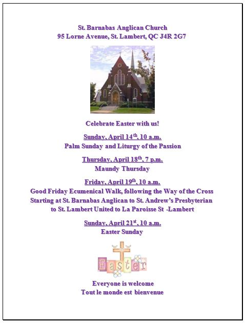 St. Barnabas Church Easter Services 2019